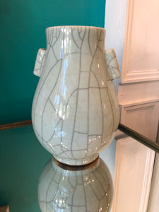 Double Handle Celadon Crackle Vase