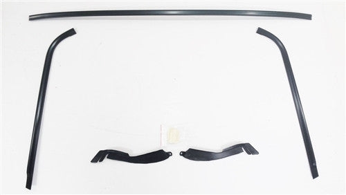 1970 - 1981 F-body Windshield Moldings Kit, BLACK ANODIZED with Plastic Clips and Plastic Corners