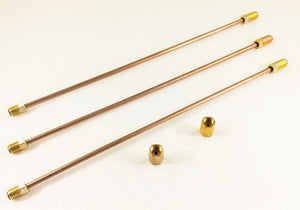 "3/16"" Copper Nickel Brake Lines. PACK OF 3.  Each pc. Is 10"" long with inverted double flares and standard 3/16"" tube nuts"
