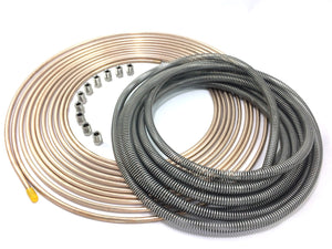"25 Ft. of 3/16"" (4.75 mm) Copper Nickel Tubing with Stainless Armor and Stainless Fittings"