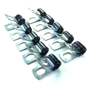 "1/4"" Brake Line Clip Set. Steel with Rubber Insulation. (Pack of 10)"