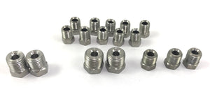 "Stainless Brake Line Fitting Kit for 3/16"" tube, Inverted Flare  (19 Fittings Included)"