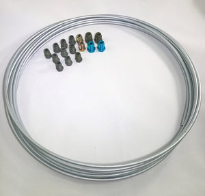 "25 ft. Zinc Plated 3/16"" Brake Line Tubing w/ metric brake line  ISO/Bubble Flare fittings . (Pack of 16  fittings)"