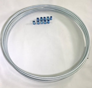 "25 ft. Zinc Plated 3/16"" Brake Line Tubing w/ metric brake Line invert flare fittings. 10 x 1 mm (Pack of 10 fittings)"