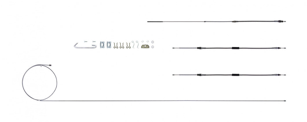 '64 - '67 GTO, Excl. Turbo 400 - E Brake Cable Set w/ Hardware, Stainless