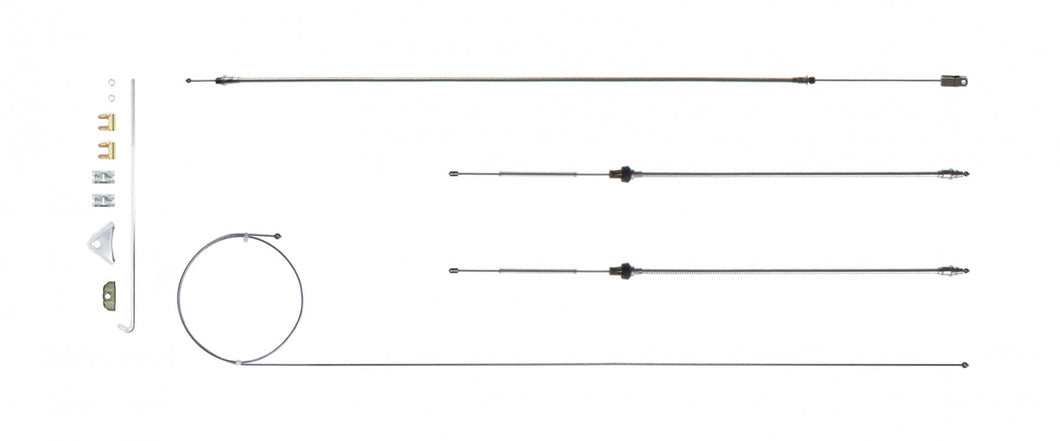 '67 - '74  A Body w/ Intermediate E-Brake Cable Set, 108' Wheelbase, Stainless