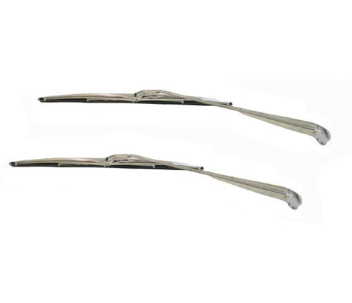 1964-1972 Windshield Wiper Arms and Blades Kit - Stainless Steel - Coupe