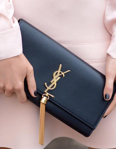 Saint Laurent Classic Black Tassel Mono Clutch