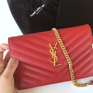 Saint Laurent  MONOGRAM CHAIN WALLET IN RED