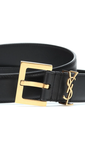 Saint Laurent Logo Belt 3cm black/bronze
