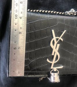 Saint Laurent Black Croc Embossed Satchel - Small