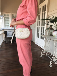 Gucci GG mini  marmont chain bag off white