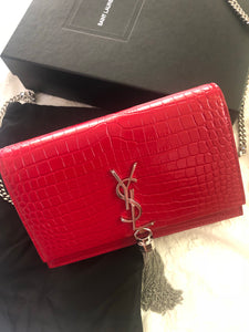 Saint Laurent Kate Wallet On Chain - Red Croc