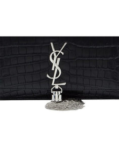 Saint Laurent croc embossed Chain Wallet - Black