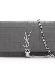 Saint Laurent croc embossed Chain Wallet - fog