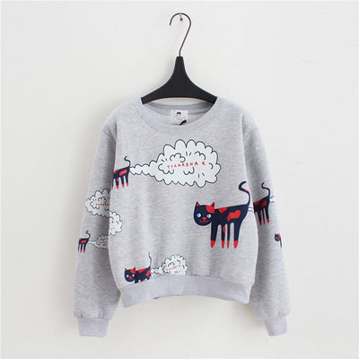 Velvet Cartoon Cat Pattern Sweatshirts