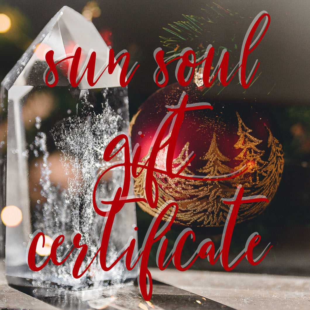 Sun Soul Gift Certificate Special $100 OFF