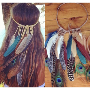 Natural Peacock - bohemian feather headpiece.