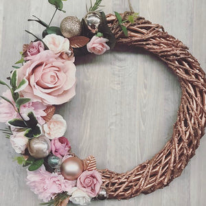 Dusty pink & Rose Gold - festive floral wreath.