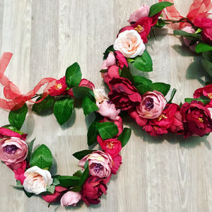 Red & dusty pink peony Flowercrown.