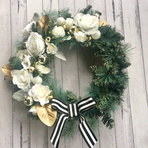 DELUXE - white/ivory & gold floral wreath.