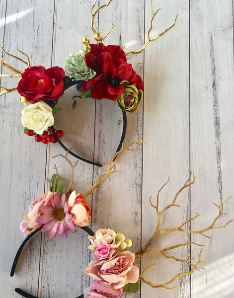 Boho floral deer crown - pink.