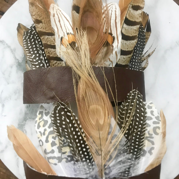 Boho feather crown - Natural pheasant feathers.