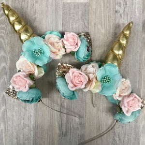 Pink + mint unicorn crowns.