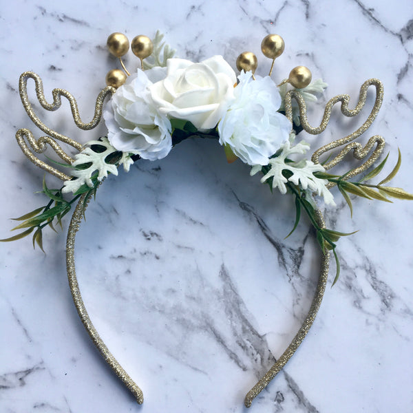 Mini glitter reindeer crown - white.