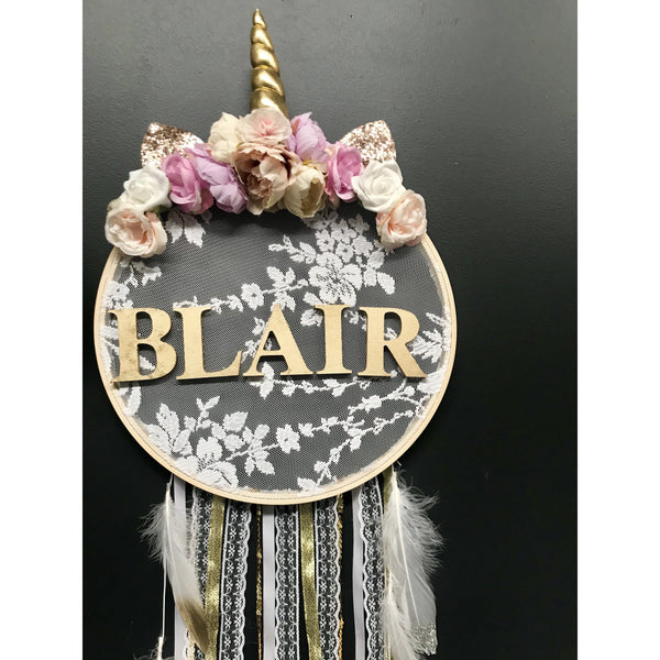 Floral Unicorn Dreamcatcher.