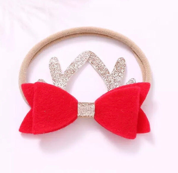 Baby bow reindeer crown - red.