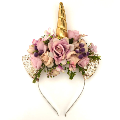 Vintage floral unicorn crown- dusty lilac.