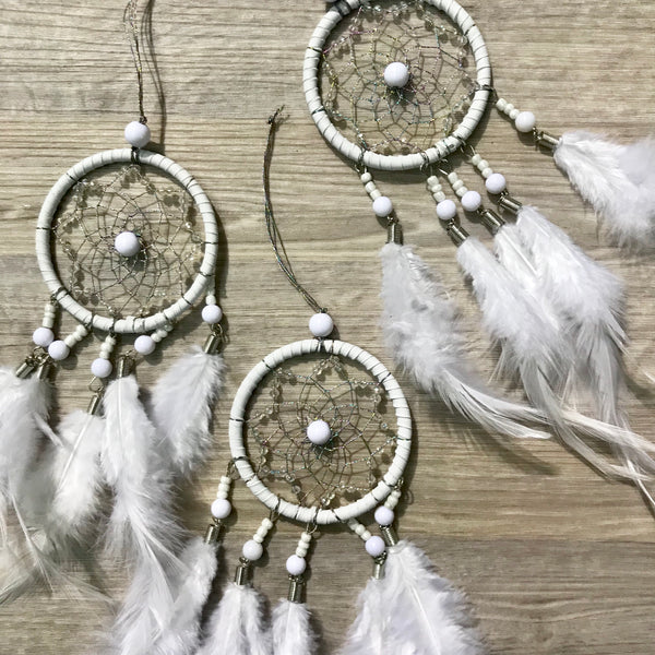 Mini car mirror Dreamcatcher- White.