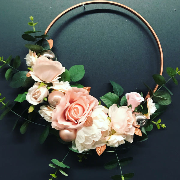 Rose Gold Floral wooden hoop - dusty pinks.
