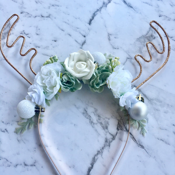 Large glitter floral reindeer crown - rose gold / mint + white.