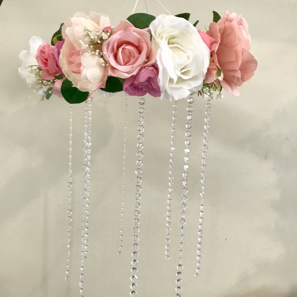 Floral + crystal Dreamcatcher mobile - mixed pinks + white.