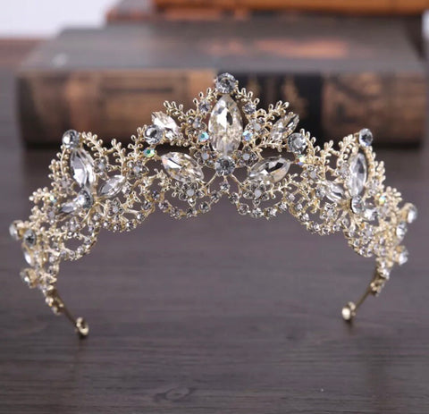 Baroque Bridal crystal crown - light gold.