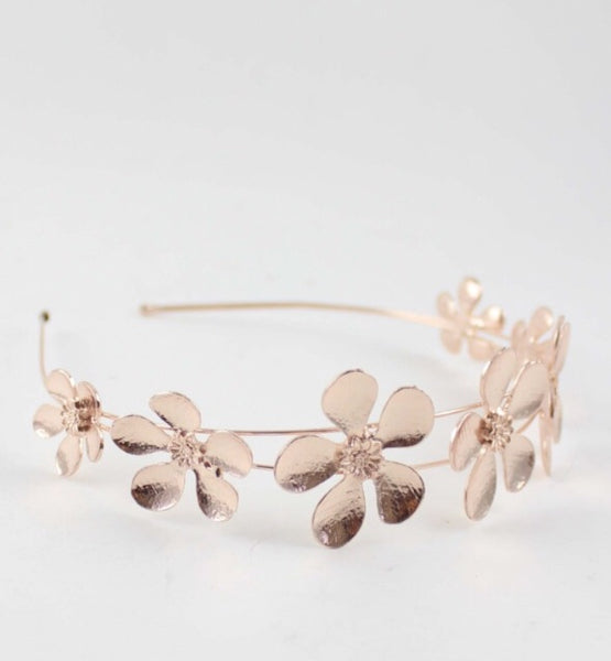 Metallic petal crown -Gold or Rose Gold.