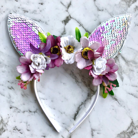 Lilac floral bunny crown - sequin ears.