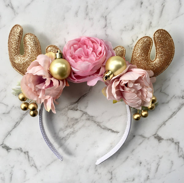 Pink + gold sparkle reindeer crown.