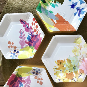 Retro- mixed floral design cake plates.