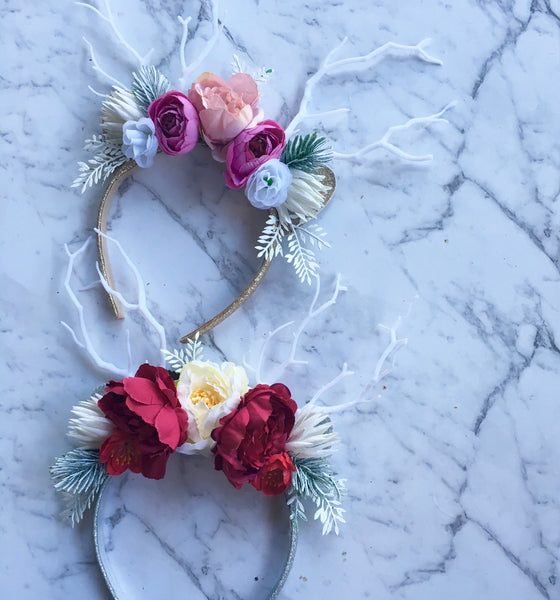 Vintage rose - reindeer crown (pink)