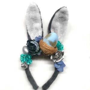 Floral Easter bunny ears - grey + mixed blues.