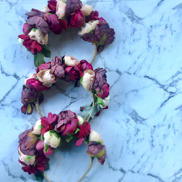 Floral garden headband - red/burgundy/ivory.