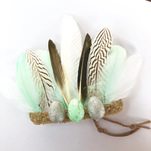 Boho Easter feather crown - mint.