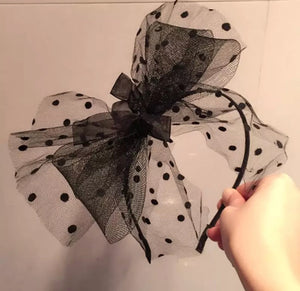 Polka dot bow crown - Black.