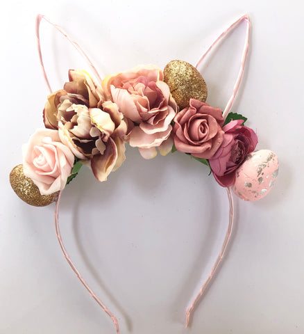 Dusty pink floral bunny crown.
