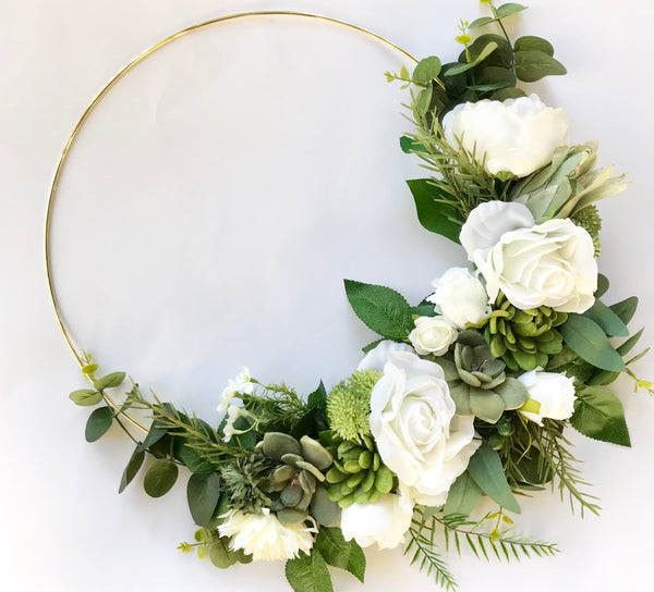 Floral Gold hoop - whites/succulents/greenery