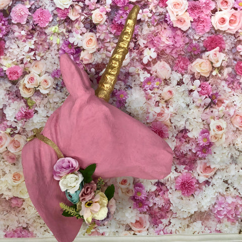 Large Floral Faux Unicorn head wall piece- Pink.