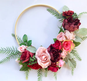 Floral wooden hoop - burgundy/pinks.